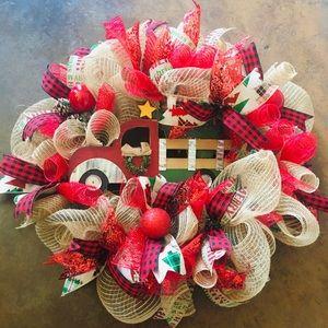 Farmhouse Red Truck Christmas Wreath